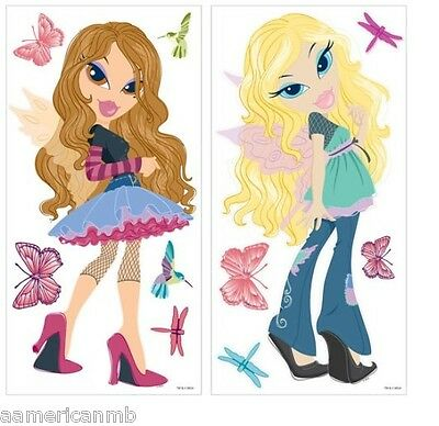 "BRATZ Fashion Pixiez Cloe Yasmin Jumbo Peel Stick Wall Stickers 2 Sheet 32""x16"""