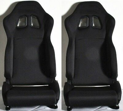 New 1 Pair Black Cloth Racing Seats Reclinable + Sliders For Acura