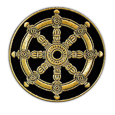 Dharma Wheel Embroidery Buddhist Amulet Dharmachakra Iron-On Patch Emblem 3""