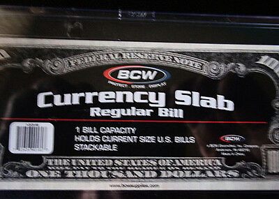 (4)-BCW Deluxe Currency Slab,Currency Holder-Regular or Current Size Bill
