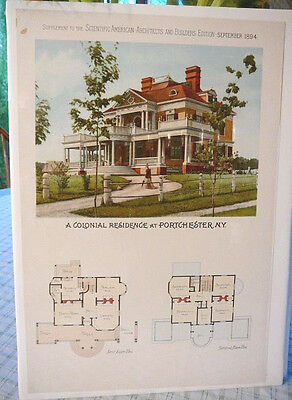 Portchester, NY victorian house illust & floorplan - Scientific American 1894