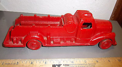 Vintage Cast Iron Fire Engine truck toy JM 233 10 inch fantastic condition