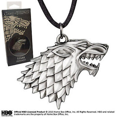 Game of Thrones House Stark DireWolf Head Sigil Official HBO Silver Necklace