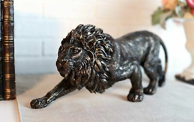 Bronze Leonine Lion Figurine Statue Resin Home Decor Safari Jungle Collectibles
