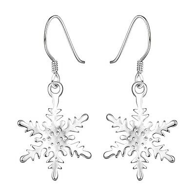 925 Sterling Silver Chandelier Snowflake Hoop Pierced Earrings L156