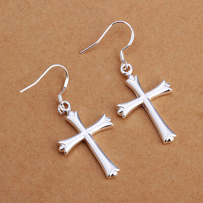 925 Sterling Silver Dangle Cross Hoop Pierced Earrings L157