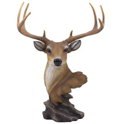 "Large Deer Buck Bust Collection Statue Figurine 15.5"" Height Hunter Gift Cabin"
