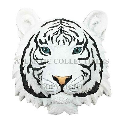 "Siberian White Tiger Hunter Wall Bust Sculpture 7.5"" Height Figural Home Decor"