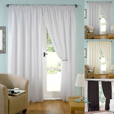"""Pair of Ready Made Lined Voile Pencil Pleat 3"""" Tape Top Curtains.Various Colours"""