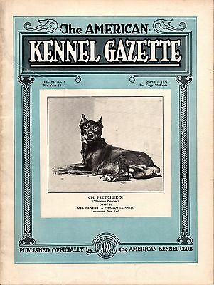 Vintage American Kennel Gazette March 1932 Minature Pinscher Cover