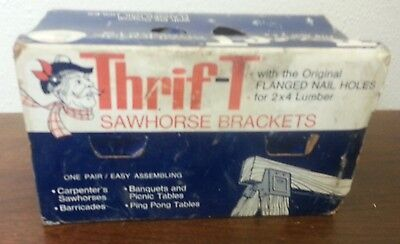 Vintage Mid-Century Nib Pair Of Thrif-T Heavy Steel Sawhorse Brackets