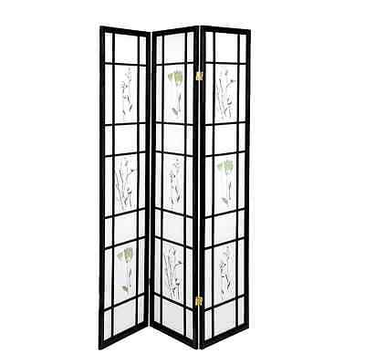 "3 Panel 70""x52"" Shoji Screen Room Divider/Privacy Wall-Small Flower Design Black"