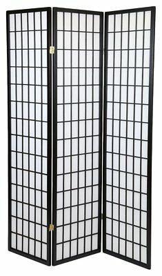 3 Panel Shoji Screem Room Divider/Privacy Wall With Rice Paper Screen Black