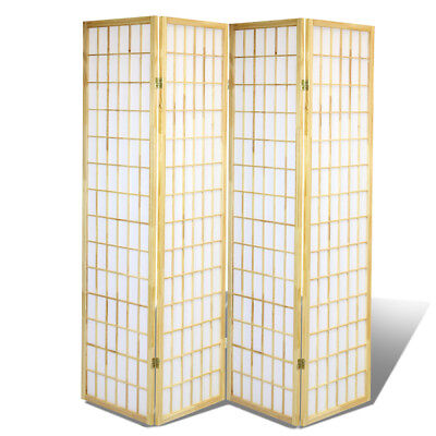 4 Panel Shoji Screem Room Divider/Privacy Wall With Rice Paper Screen Natural