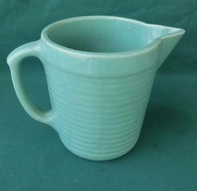 "Vtg 6"" Monmouth Stoneware Pitcher Seafoam Green Milk Water Stacked Disc Kitchen"
