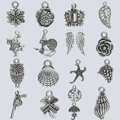 Lot Silver Witch Wing Flower Crown Clover Alloy Metal Charms Pendants Findings