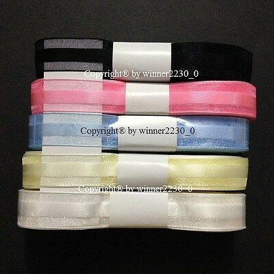 15mm x 20m Organza Ribbon Woven Edge Satin Centre BLACK WHITE PINK BLUE YELLOW