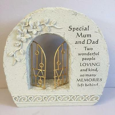 GATES TO HEAVEN - SPECIAL MUM AND DAD Grave Memorial Remembrance Plaque Ornament