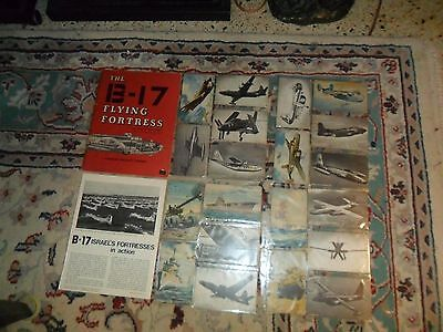 Vintage WW2 US MILITARY AIRPLANE Postcard Lot of 20 & 1965 B-17 Fortress Book +