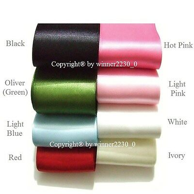 50mm Wide Double Satin Wedding Car Woven Edge Ribbon WHITE RED PINK BLUE GREEN