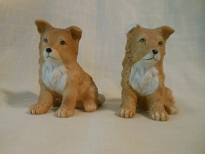 Vintage Porcelain Collie Puppy Homco Dog Figurine Bisque Set of 2 8828