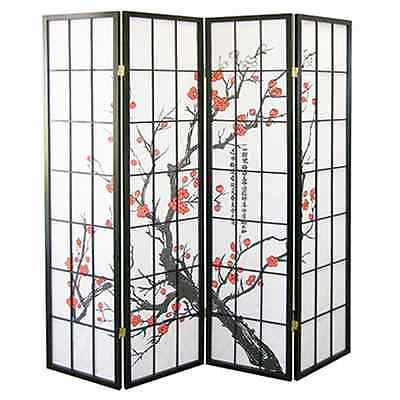"4 Panel70""x70"" Shoji Screem Room Divider/Privacy Wall-Plum Blossom, Black Wood"