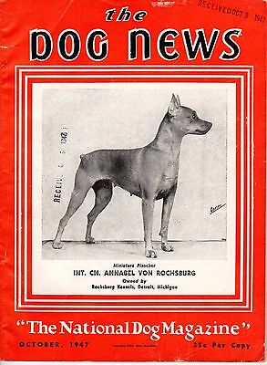 Vintage Dog News Magazine October 1947 Minature Pinscher Cover