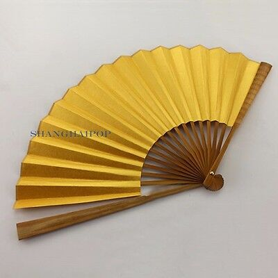 1 X Xuan Paper Folding Hand Fan for Chinese Painting Calligraphy Gold 23cm-33cm