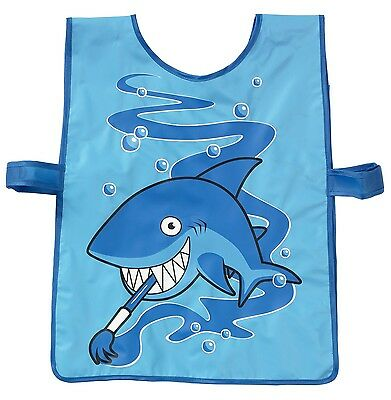 Bugzz Kids Blue Shark Tabard Childrens Childs Boys Fun Painting Cooking Apron