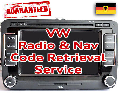 VW Stereo SAFE PIN Code Unlock Decode Service for RNS Navigation & Radio