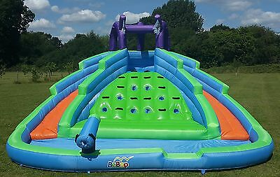 BeBop Twin Peaks Childrens Big Inflatable Kids Water Slide Bouncy Castle Pool