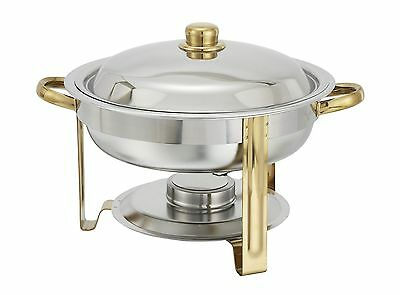 Winco 203, 4-Quart Gold-Accented Stainless Steel Oval Chafer