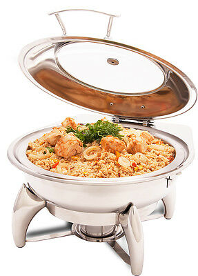 PrestoWare PWI-522, 5-Quart Glass Top Round Chafing Dish with Stand