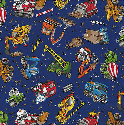 Construction Bulldozer Cement Dump Truck Digger Blue Quilt Fabric FQ / Metre NEW