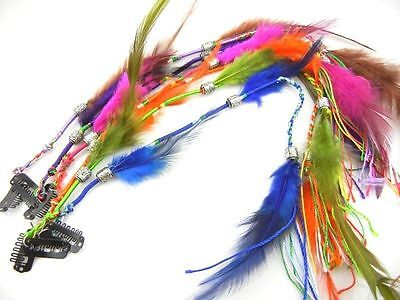 Wholesale Handmade Women Girl Knitting Real Feather Clips in Hair Extensions Lot