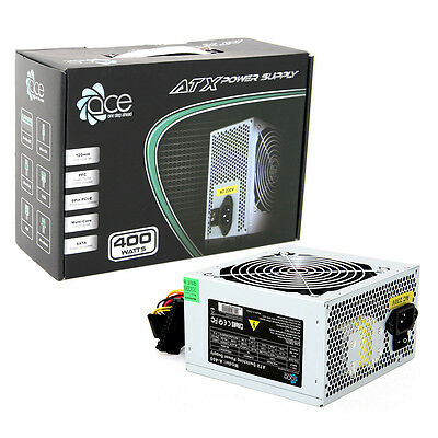 ACE 400W Grey PC PSU Power Supply 120mm Red Cooling Fan PFC