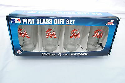Miami Marlins 16-Ounce Pint Glass Gift Set with 4 Glasses