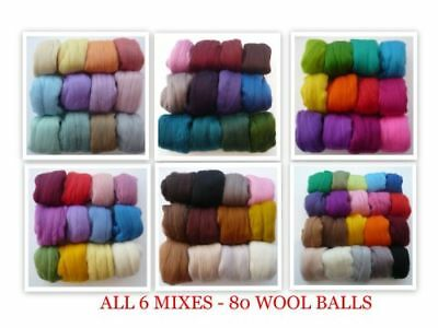 Heidifeathers® 6 x Merino Felting Wool Mixes - Over 70 Different Colours