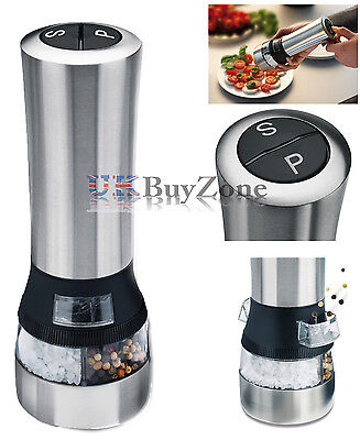 2 in 1 Stainless Steel Electric Salt & Pepper Mill Grinder Shaker Combi Set