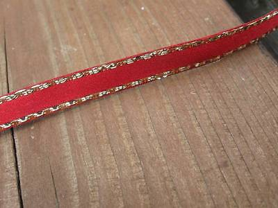7mm Berisfords Scarlet Berry Double Sided Satin Ribbon & Gold Lurex Edge -2 mtrs