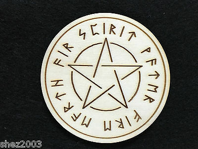 Handcrafted Wooden Altar Tile with Pentagram and Elements~ Pagan ~ Wicca