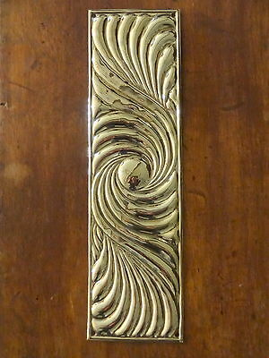 10 X Reclaimed Brass Art Nouveau Finger Door Push Plates Fingerplate