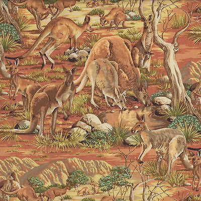 Australian Kangaroos Animals Bush Grass Trees Rocks Outback Quilt Fabric FQ NEW