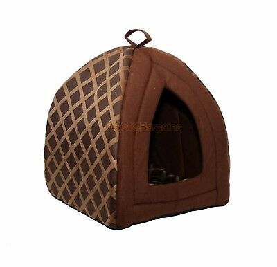 Foldable Pet Cat Dog Kitten Warm Fleece House Bed Igloo Soft Cave Mat Puppy Brn