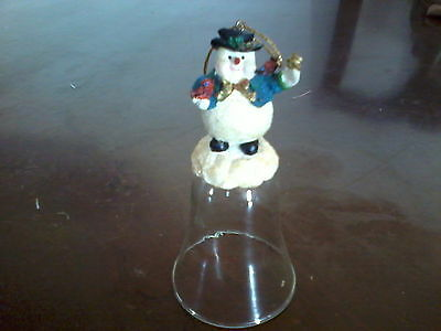 Avon Resin Snowman on Glass Bell