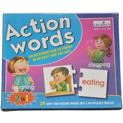 ACTION WORDS - Learn VERBS Educational PRESCHOOL Puzzle EARLY LITERACY Game TOY