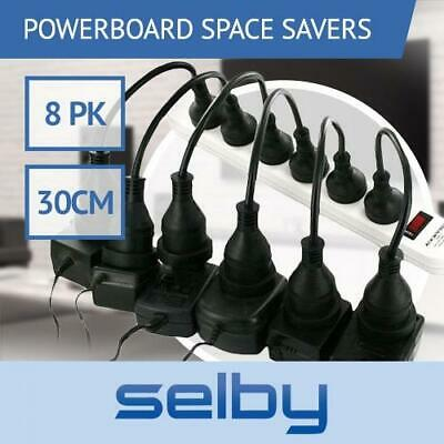 8 Pack Space Saver Short Extension Leads Cables Cords for Powerboard Power Board