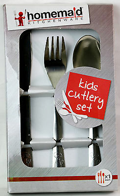Homemaid 3 Piece Kids Cutlery Set STAINLESS STEEL SILVER