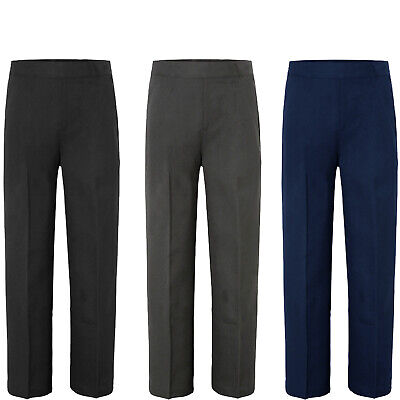 Boys Kids Children School Uniform Trouser Pull Up Half Elasticated Age 1-12 Year