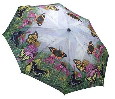 Galleria Butterfly Mountain Automatic Open Close Folding Compact Umbrella